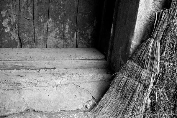 broom and steps